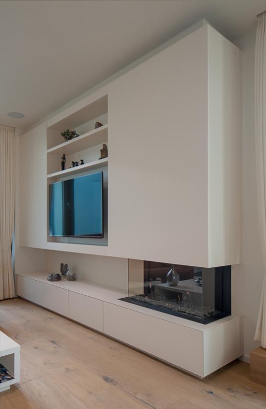 TV meubel op maat met open haard | Meubelmakerij Ceulemans Lier